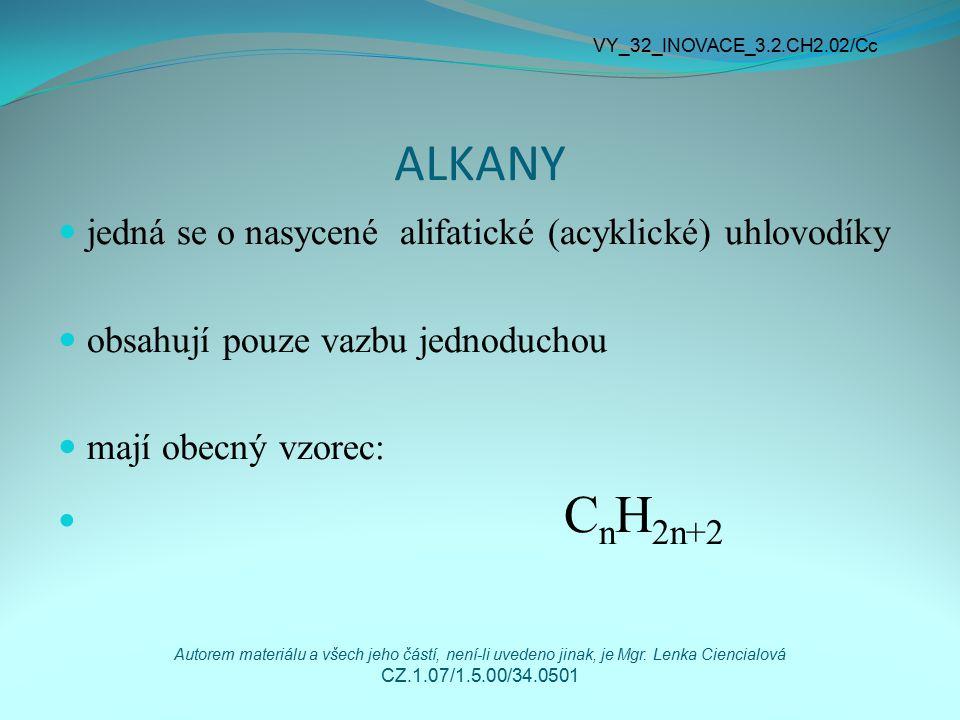 ALKANY jedná se o nasycené alifatické (acyklické) uhlovodíky obsahují pouze vazbu jednoduchou mají obecný vzorec: C n H 2n+2 VY_32_INOVACE_3.2.CH2.02/