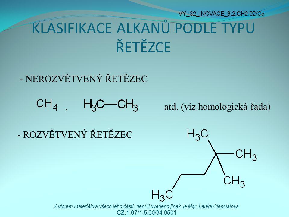 JEDNOVAZNÉ UHLOVODÍKOVÉ ZBYTKY Obecné označení - R Jsou odvozené od alkanů odnětím vodíku V názvu nahrazují příponu - an příponou -yl (alkyly) Methan methyl CH 3 - Ethan ethyl CH 3 CH 2 - Propan propyl CH 3 CH 2 CH 2 - Odvoďte názvy a vzorce uhlovodíkových zbytků C 4 – C 7 VY_32_INOVACE_3.2.CH2.02/Cc Autorem materiálu a všech jeho částí, není-li uvedeno jinak, je Mgr.