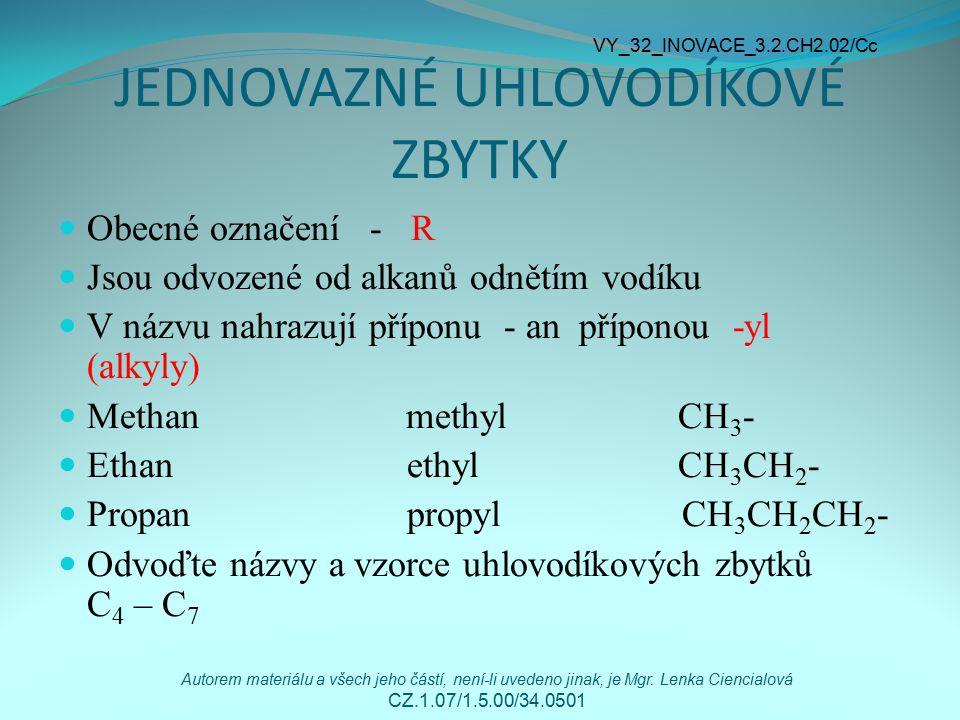 JEDNOVAZNÉ UHLOVODÍKOVÉ ZBYTKY Obecné označení - R Jsou odvozené od alkanů odnětím vodíku V názvu nahrazují příponu - an příponou -yl (alkyly) Methan