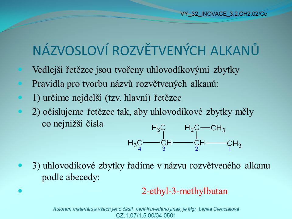 NÁZVOSLOVÍ ROZVĚTVENÝCH ALKANŮ Vedlejší řetězce jsou tvořeny uhlovodíkovými zbytky Pravidla pro tvorbu názvů rozvětvených alkanů: 1) určíme nejdelší (