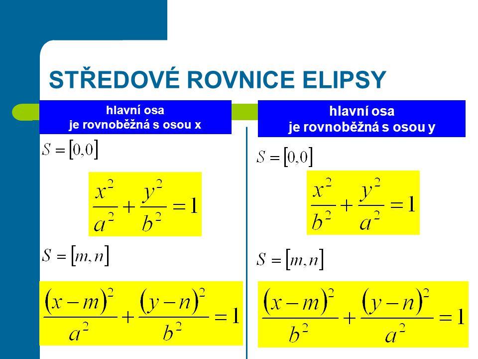 STŘEDOVÉ ROVNICE ELIPSY hlavní osa je rovnoběžná s osou x hlavní osa je rovnoběžná s osou y