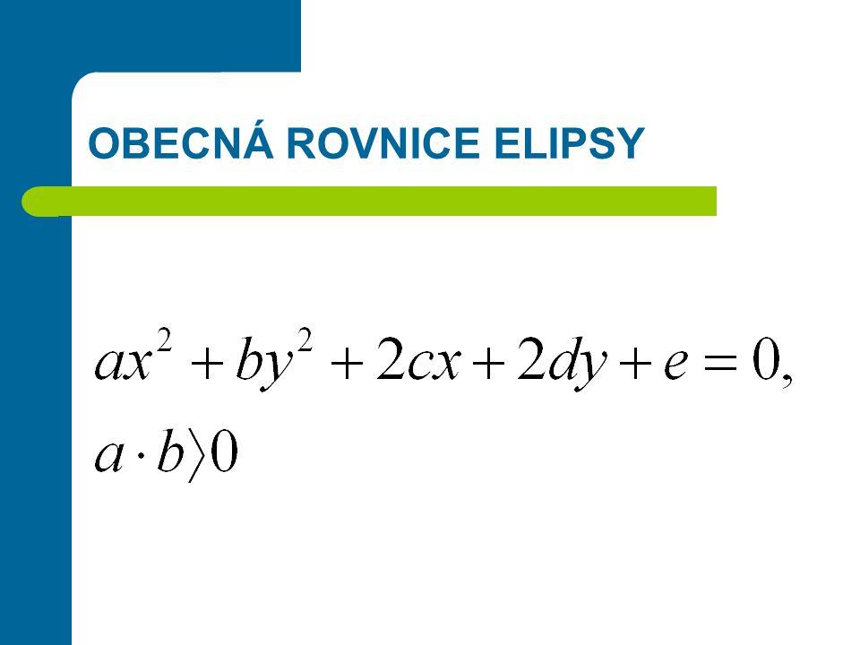 PŘÍKLAD 1.Jaká je středová rovnice elipsy: a = 5, b = 3, S = [0,0], hlavní osa splývá s osou y .