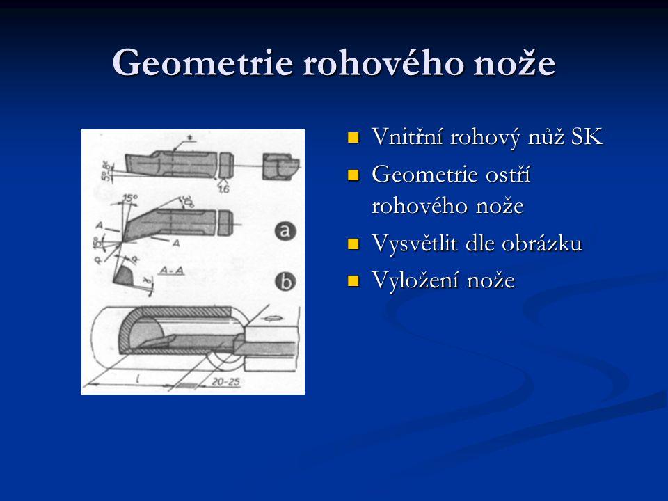 Geometrie rohového nože Vnitřní rohový nůž SK Geometrie ostří rohového nože Vysvětlit dle obrázku Vyložení nože