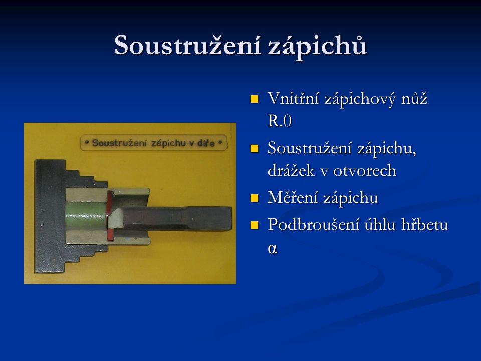 Soustružení zápichů Vnitřní zápichový nůž R.0 Soustružení zápichu, drážek v otvorech Měření zápichu Podbroušení úhlu hřbetu α