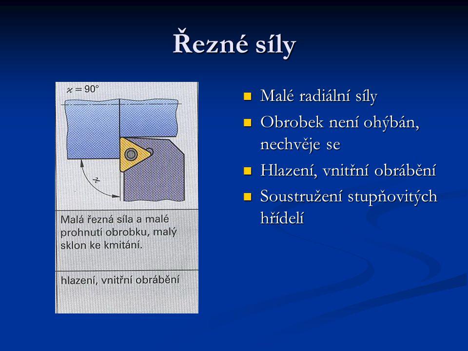 Řezné síly Malé radiální síly Obrobek není ohýbán, nechvěje se Hlazení, vnitřní obrábění Soustružení stupňovitých hřídelí