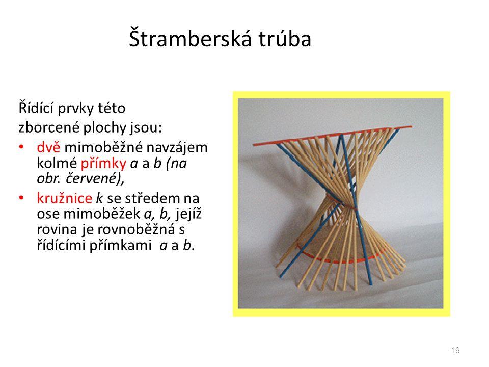 Štramberská trúba Řídící prvky této zborcené plochy jsou: dvě mimoběžné navzájem kolmé přímky a a b (na obr. červené), kružnice k se středem na ose mi