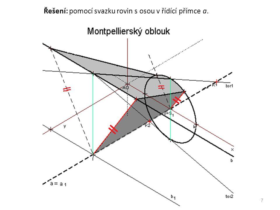 Řešení: pomocí svazku rovin s osou v řídící přímce a. 7