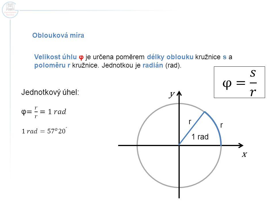 Oblouková míra Velikost úhlu φ je určena poměrem délky oblouku kružnice s a poloměru r kružnice.