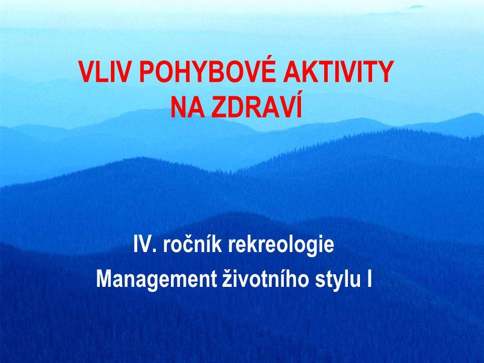 VLIV POHYBOVÉ AKTIVITY NA ZDRAVÍ IV. ročník rekreologie Management životního stylu I