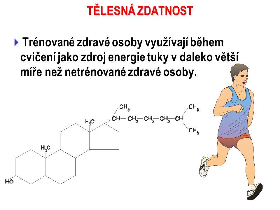  Trénované zdravé osoby využívají během cvičení jako zdroj energie tuky v daleko větší míře než netrénované zdravé osoby.
