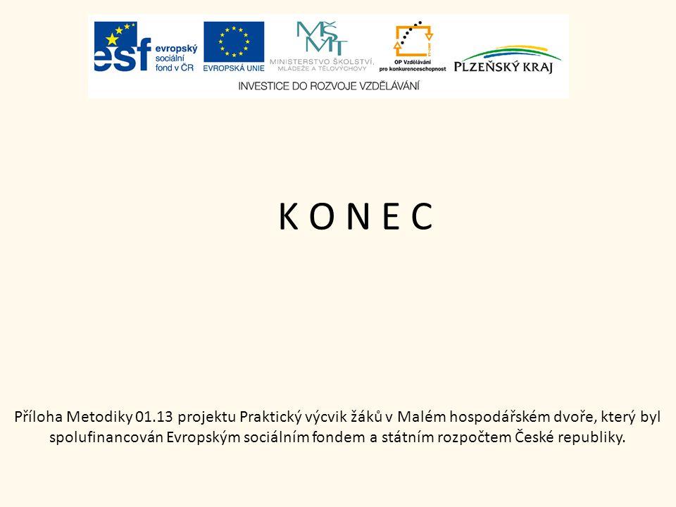 K O N E C Příloha Metodiky 01.13 projektu Praktický výcvik žáků v Malém hospodářském dvoře, který byl spolufinancován Evropským sociálním fondem a stá