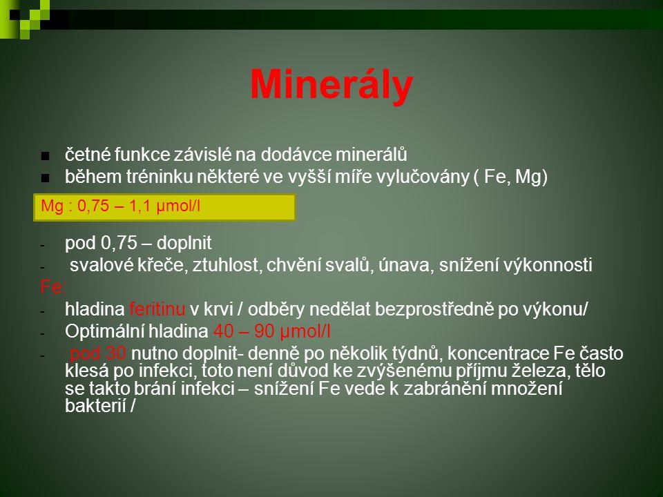 Minerály četné funkce závislé na dodávce minerálů během tréninku některé ve vyšší míře vylučovány ( Fe, Mg) - pod 0,75 – doplnit - svalové křeče, ztuh