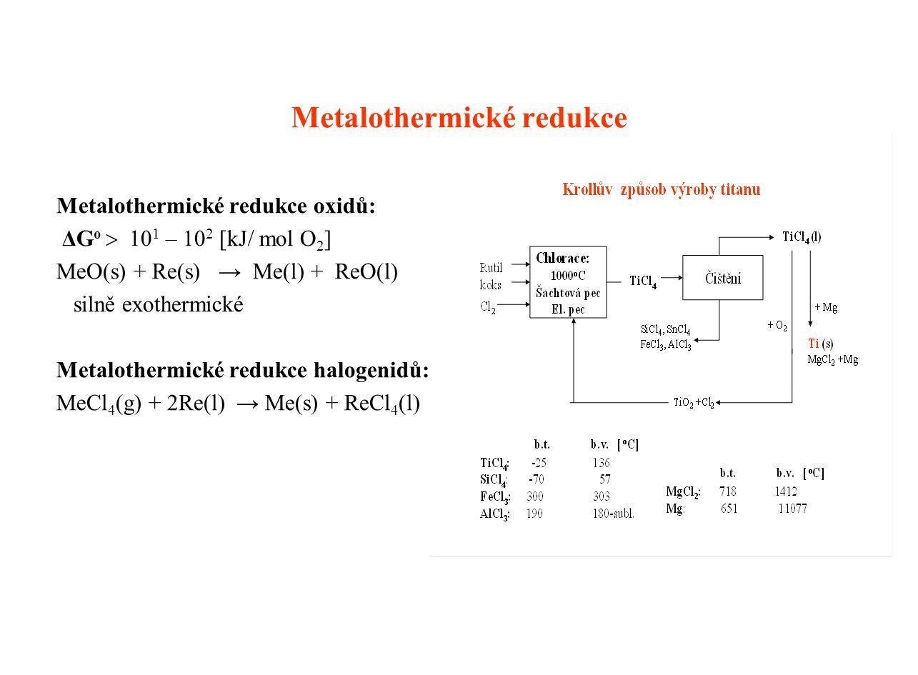 Metalothermické redukce Metalothermické redukce oxidů: ΔG o  10 1 – 10 2 [kJ/ mol O 2 ] MeO(s) + Re(s) → Me(l) + ReO(l) silně exothermické Metalothermické redukce halogenidů: MeCl 4 (g) + 2Re(l) → Me(s) + ReCl 4 (l)