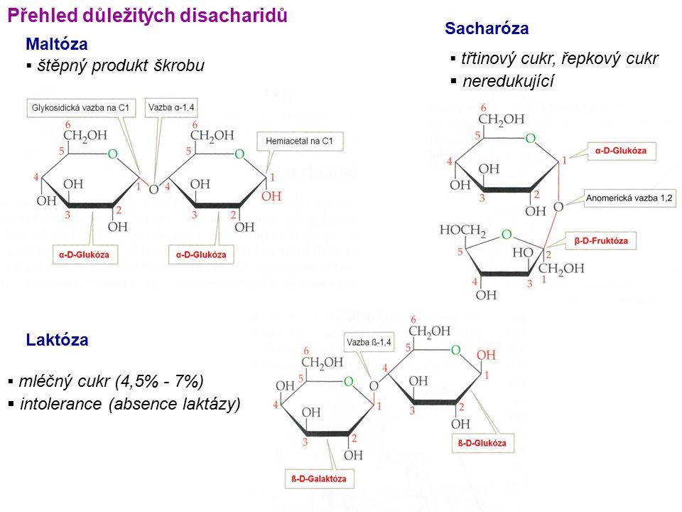 Přehled důležitých disacharidů Maltóza  štěpný produkt škrobu Sacharóza  mléčný cukr (4,5% - 7%)  intolerance (absence laktázy) Laktóza  třtinový