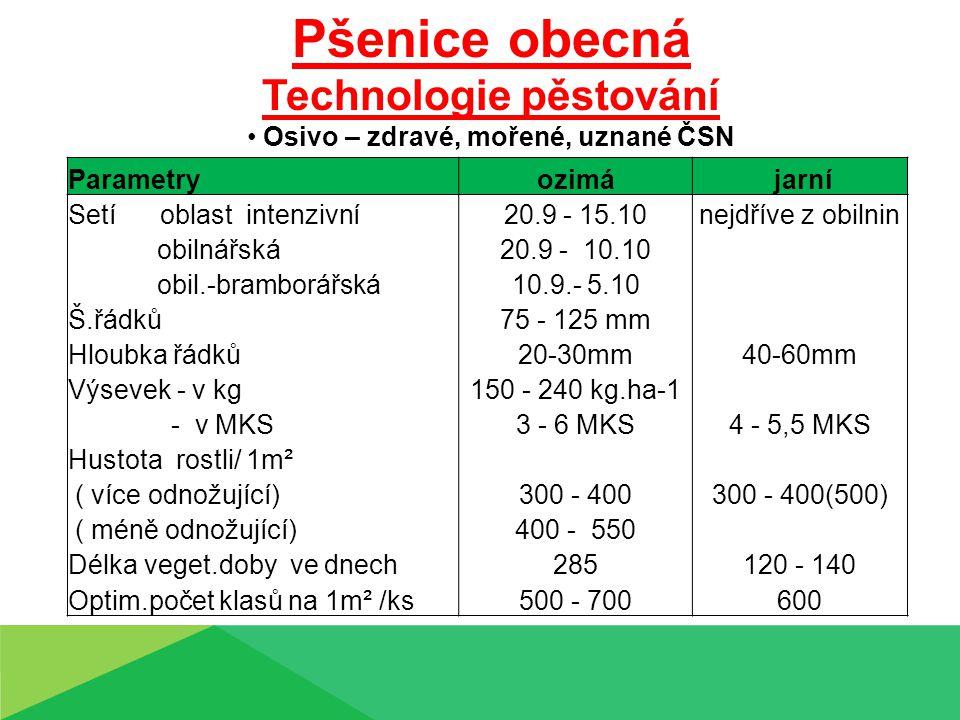 Pšenice obecná Technologie pěstování Osivo – zdravé, mořené, uznané ČSN Parametryozimá jarní Setí oblast intenzivní20.9 - 15.10nejdříve z obilnin obilnářská20.9 - 10.10 obil.-bramborářská10.9.- 5.10 Š.řádků75 - 125 mm Hloubka řádků20-30mm40-60mm Výsevek - v kg150 - 240 kg.ha-1 - v MKS3 - 6 MKS4 - 5,5 MKS Hustota rostli/ 1m² ( více odnožující)300 - 400300 - 400(500) ( méně odnožující)400 - 550 Délka veget.doby ve dnech285120 - 140 Optim.počet klasů na 1m² /ks500 - 700600