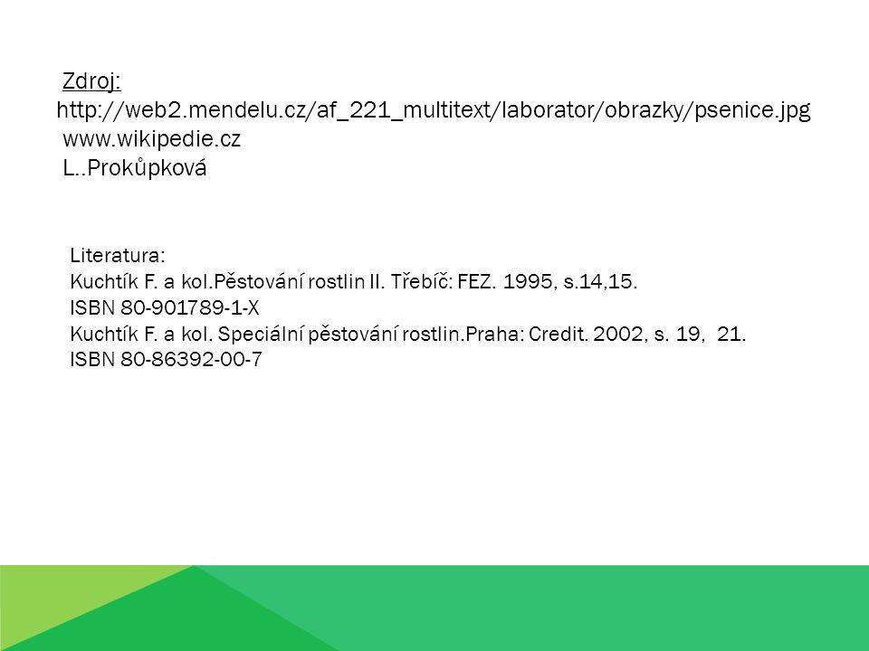Zdroj: http://web2.mendelu.cz/af_221_multitext/laborator/obrazky/psenice.jpg www.wikipedie.cz L..Prokůpková Literatura: Kuchtík F. a kol.Pěstování ros