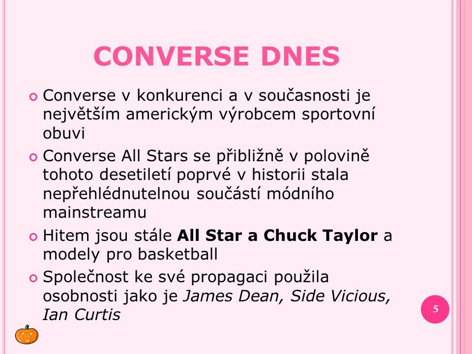 CONVERSE DNES Converse v konkurenci a v současnosti je největším americkým výrobcem sportovní obuvi Converse All Stars se přibližně v polovině tohoto