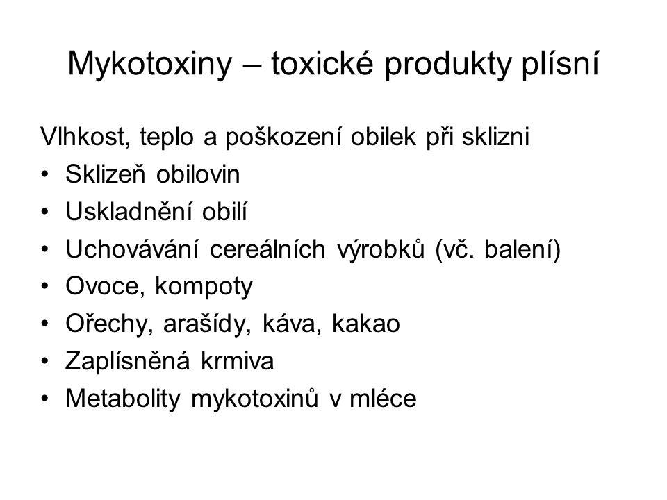 Mykotoxiny – toxické produkty plísní Vlhkost, teplo a poškození obilek při sklizni Sklizeň obilovin Uskladnění obilí Uchovávání cereálních výrobků (vč.