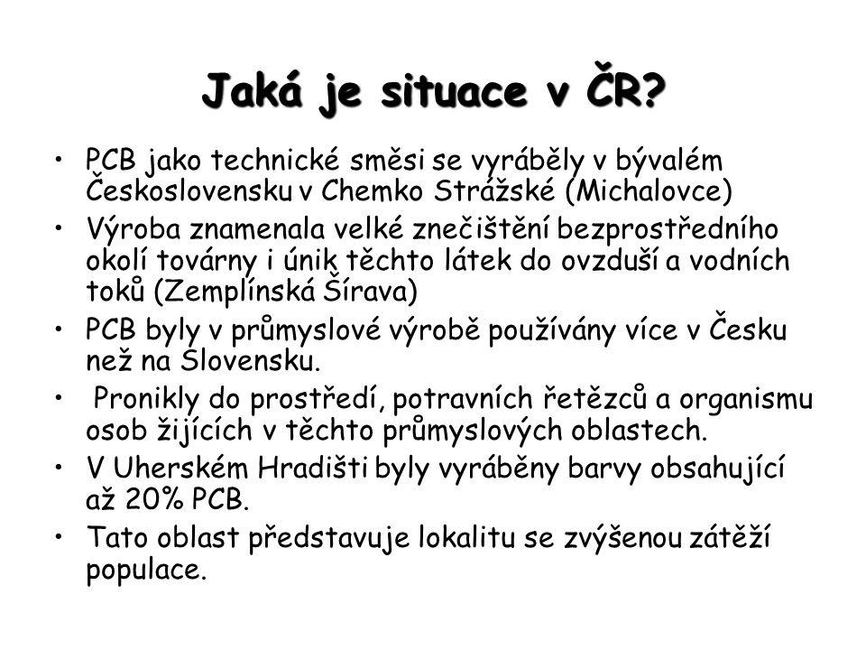 Jaká je situace v ČR? PCB jako technické směsi se vyráběly v bývalém Československu v Chemko Strážské (Michalovce) Výroba znamenala velké znečištění b