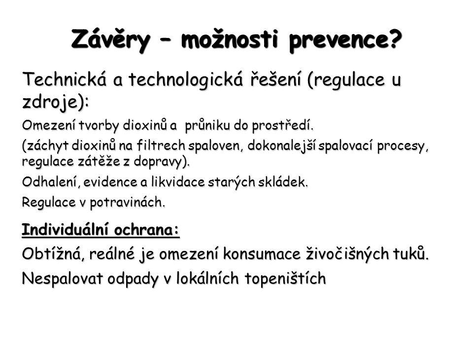 Závěry – možnosti prevence? Technická a technologická řešení (regulace u zdroje): Omezení tvorby dioxinů a průniku do prostředí. (záchyt dioxinů na fi