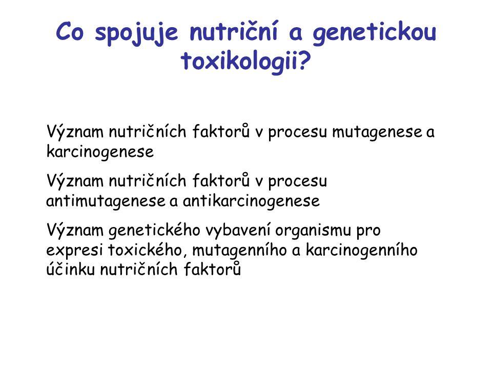 Co spojuje nutriční a genetickou toxikologii? Význam nutričních faktorů v procesu mutagenese a karcinogenese Význam nutričních faktorů v procesu antim