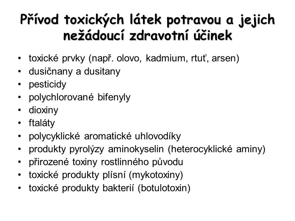 Přívod toxických látek potravou a jejich nežádoucí zdravotní účinek toxické prvky (např. olovo, kadmium, rtuť, arsen) dusičnany a dusitany pesticidy p