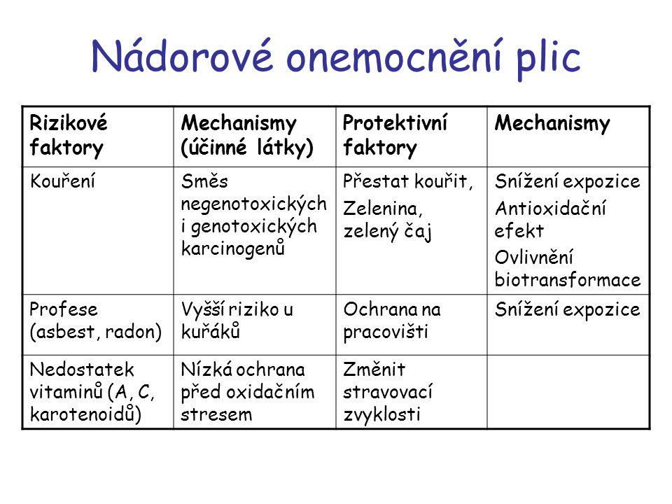 Nádorové onemocnění plic Rizikové faktory Mechanismy (účinné látky) Protektivní faktory Mechanismy KouřeníSměs negenotoxických i genotoxických karcino