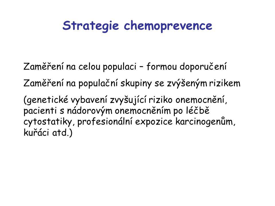 Strategie chemoprevence Zaměření na celou populaci – formou doporučení Zaměření na populační skupiny se zvýšeným rizikem (genetické vybavení zvyšující riziko onemocnění, pacienti s nádorovým onemocněním po léčbě cytostatiky, profesionální expozice karcinogenům, kuřáci atd.)