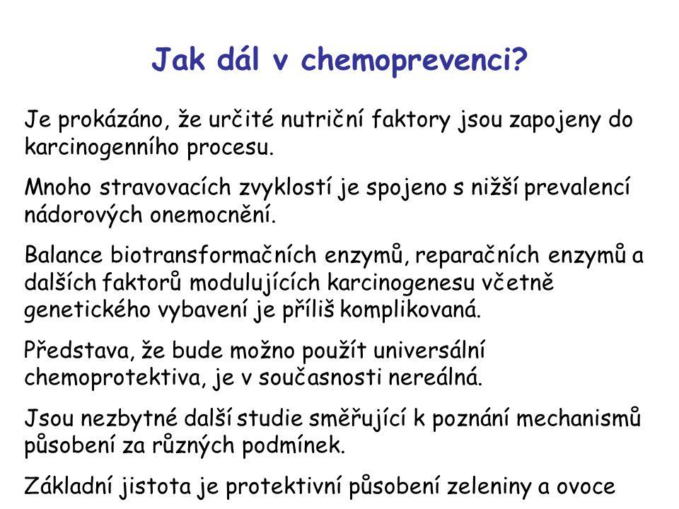 Jak dál v chemoprevenci? Je prokázáno, že určité nutriční faktory jsou zapojeny do karcinogenního procesu. Mnoho stravovacích zvyklostí je spojeno s n