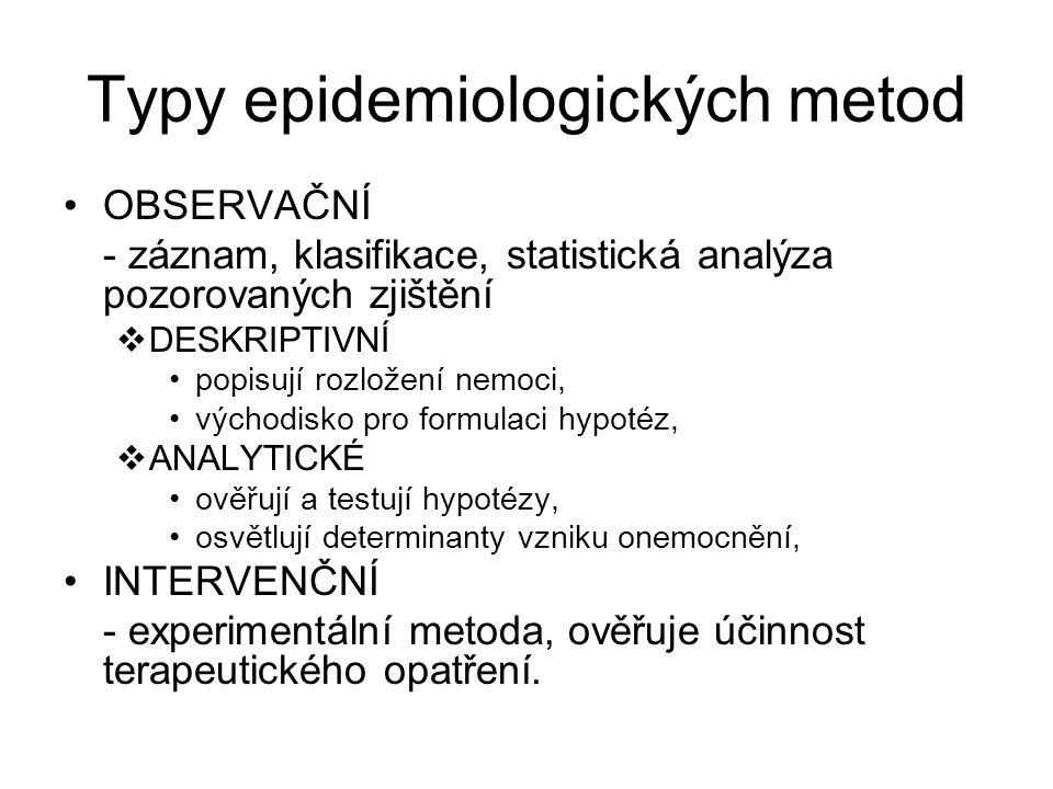 Typy epidemiologických metod OBSERVAČNÍ - záznam, klasifikace, statistická analýza pozorovaných zjištění  DESKRIPTIVNÍ popisují rozložení nemoci, výc