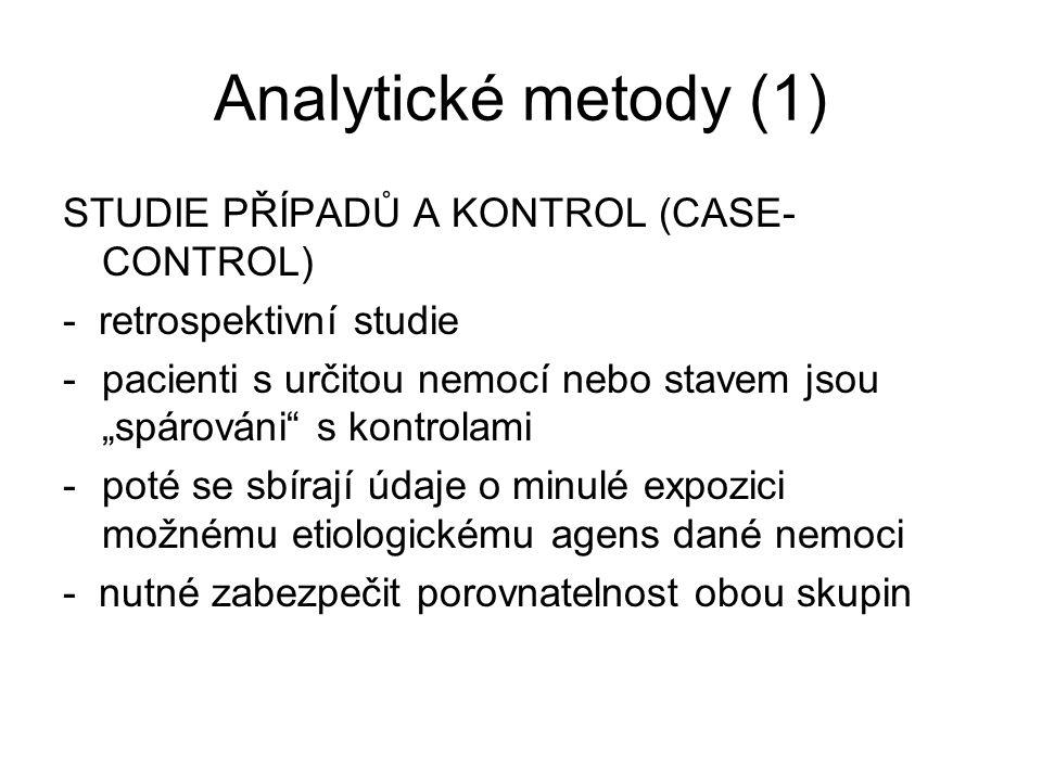 """Analytické metody (1) STUDIE PŘÍPADŮ A KONTROL (CASE- CONTROL) - retrospektivní studie -pacienti s určitou nemocí nebo stavem jsou """"spárováni"""" s kontr"""