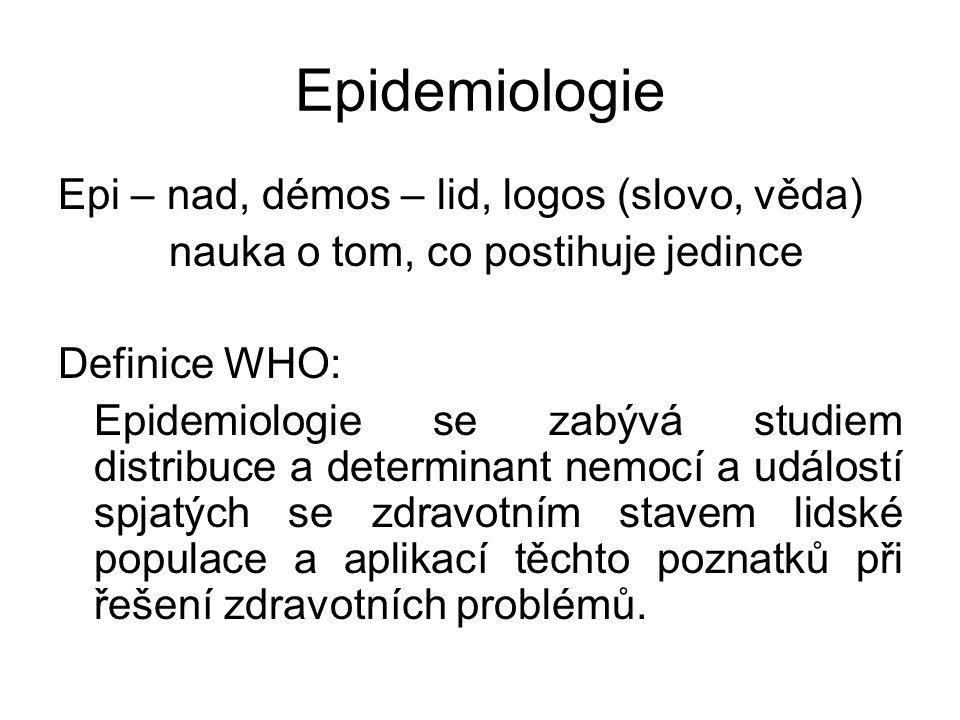 Epidemiologie Epi – nad, démos – lid, logos (slovo, věda) nauka o tom, co postihuje jedince Definice WHO: Epidemiologie se zabývá studiem distribuce a