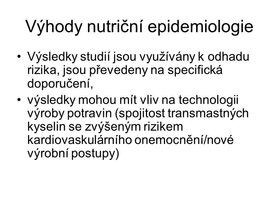 Výhody nutriční epidemiologie Výsledky studií jsou využívány k odhadu rizika, jsou převedeny na specifická doporučení, výsledky mohou mít vliv na tech