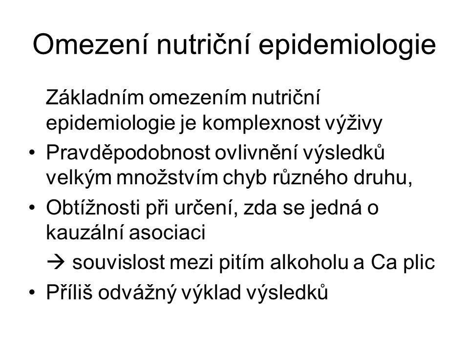 Omezení nutriční epidemiologie Základním omezením nutriční epidemiologie je komplexnost výživy Pravděpodobnost ovlivnění výsledků velkým množstvím chy