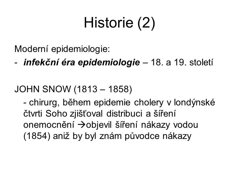 Historie (2) Moderní epidemiologie: -infekční éra epidemiologie – 18. a 19. století JOHN SNOW (1813 – 1858) - chirurg, během epidemie cholery v londýn