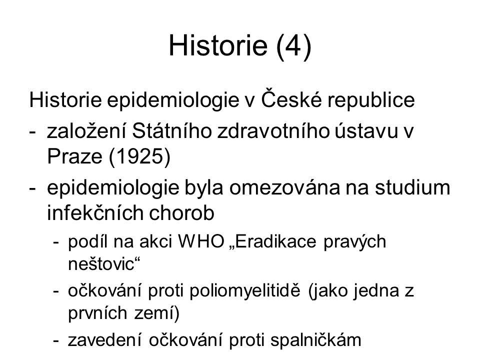 Historie (4) Historie epidemiologie v České republice -založení Státního zdravotního ústavu v Praze (1925) -epidemiologie byla omezována na studium in