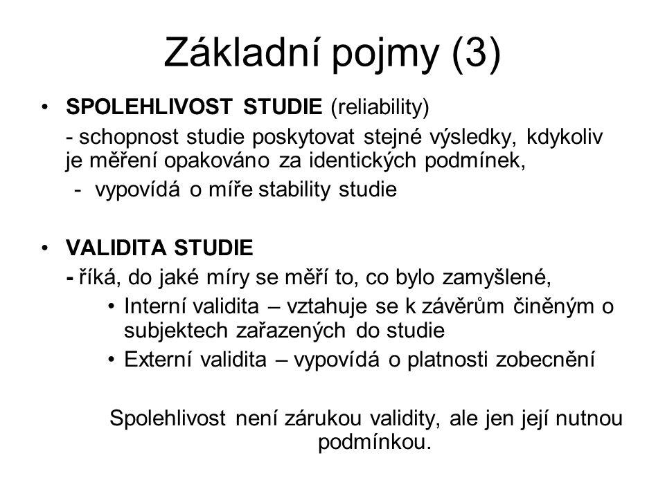 Základní pojmy (3) SPOLEHLIVOST STUDIE (reliability) - schopnost studie poskytovat stejné výsledky, kdykoliv je měření opakováno za identických podmín