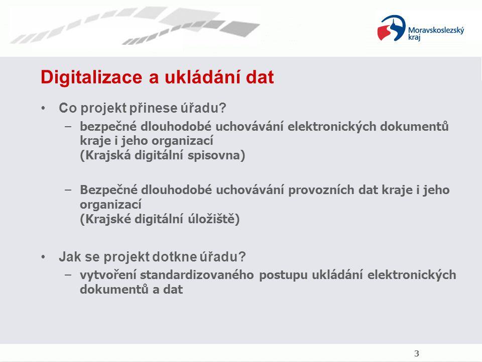 Digitalizace a ukládání dat Co projekt přinese úřadu? –bezpečné dlouhodobé uchovávání elektronických dokumentů kraje i jeho organizací (Krajská digitá