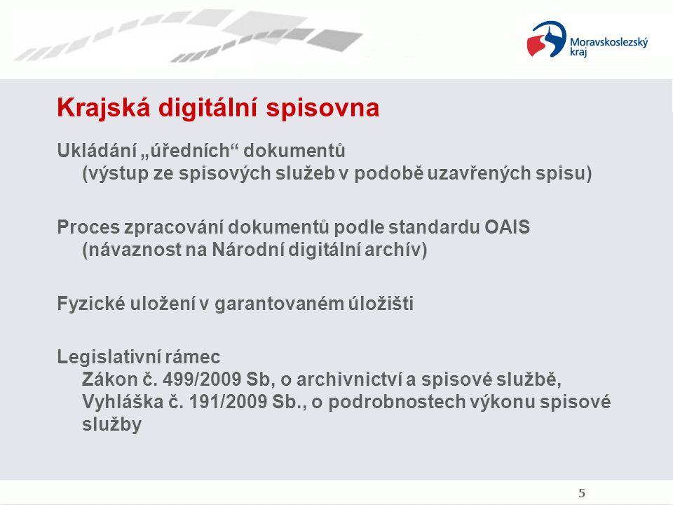 """Krajská digitální spisovna Ukládání """"úředních"""" dokumentů (výstup ze spisových služeb v podobě uzavřených spisu) Proces zpracování dokumentů podle stan"""