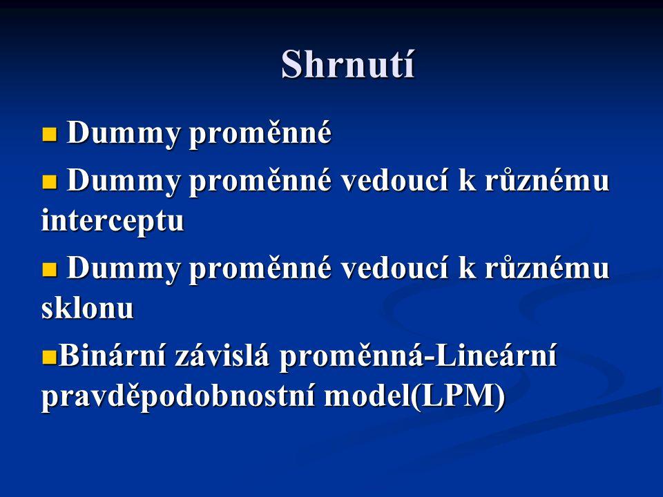 Shrnutí Dummy proměnné Dummy proměnné Dummy proměnné vedoucí k různému interceptu Dummy proměnné vedoucí k různému interceptu Dummy proměnné vedoucí k
