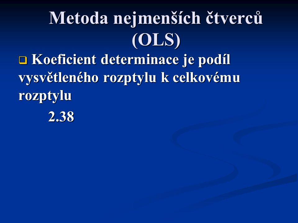 Metoda nejmenších čtverců (OLS)  Koeficient determinace je podíl vysvětleného rozptylu k celkovému rozptylu 2.38
