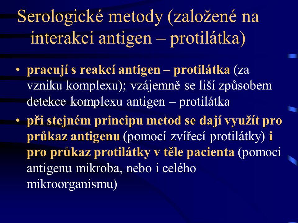Serologická reakce v praxi +++ ++ + +/- - - - -