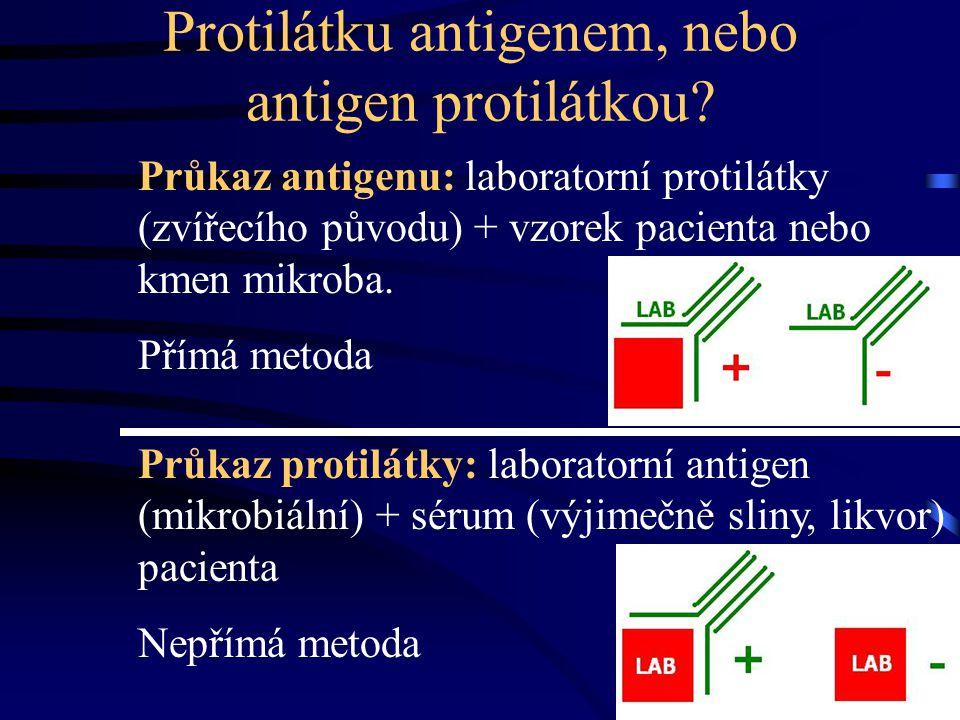 Protilátku antigenem, nebo antigen protilátkou? Průkaz antigenu: laboratorní protilátky (zvířecího původu) + vzorek pacienta nebo kmen mikroba. Přímá