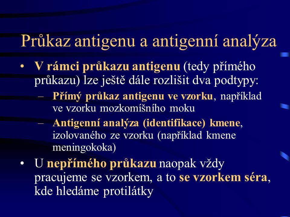 Průkaz antigenu a antigenní analýza V rámci průkazu antigenu (tedy přímého průkazu) lze ještě dále rozlišit dva podtypy: –Přímý průkaz antigenu ve vzo