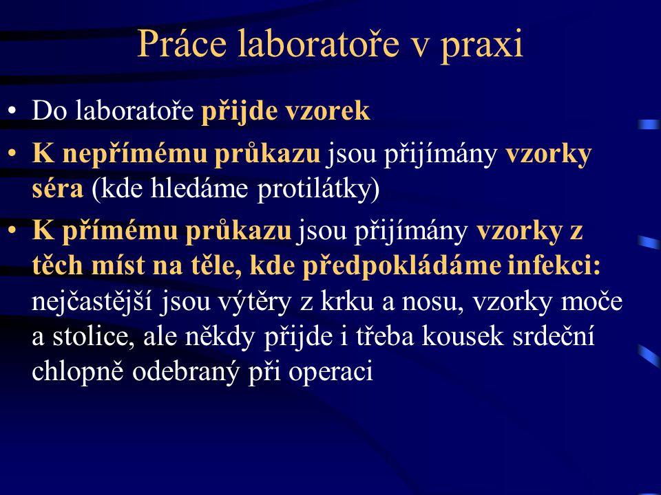 Práce laboratoře v praxi Do laboratoře přijde vzorek K nepřímému průkazu jsou přijímány vzorky séra (kde hledáme protilátky) K přímému průkazu jsou př
