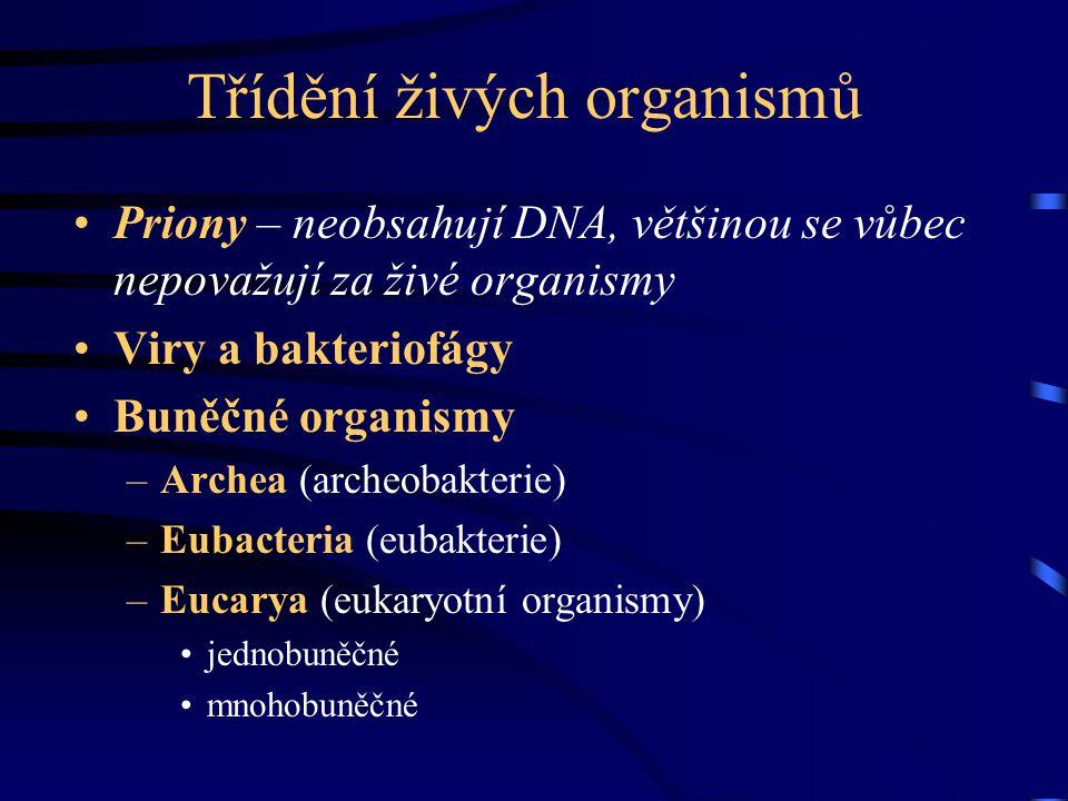 Třídění živých organismů Priony – neobsahují DNA, většinou se vůbec nepovažují za živé organismy Viry a bakteriofágy Buněčné organismy –Archea (archeo