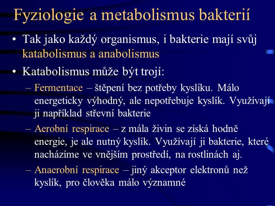 Fyziologie a metabolismus bakterií Tak jako každý organismus, i bakterie mají svůj katabolismus a anabolismus Katabolismus může být trojí: –Fermentace
