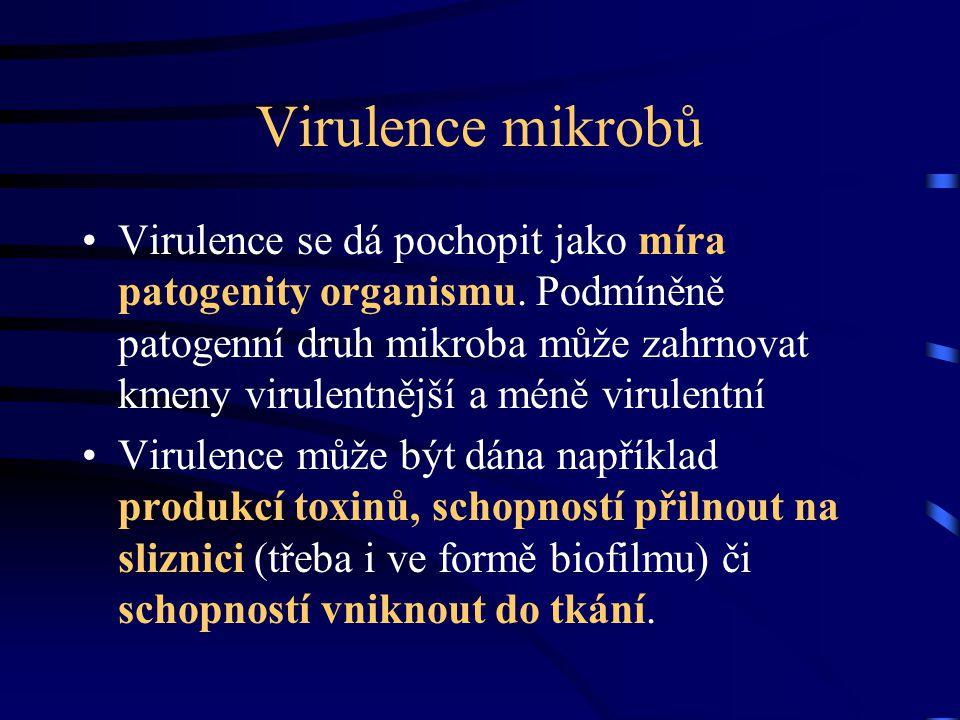 Virulence mikrobů Virulence se dá pochopit jako míra patogenity organismu. Podmíněně patogenní druh mikroba může zahrnovat kmeny virulentnější a méně