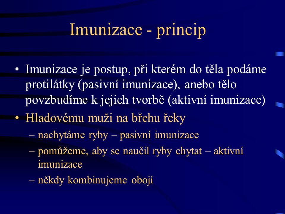 Imunizace - princip Imunizace je postup, při kterém do těla podáme protilátky (pasivní imunizace), anebo tělo povzbudíme k jejich tvorbě (aktivní imun
