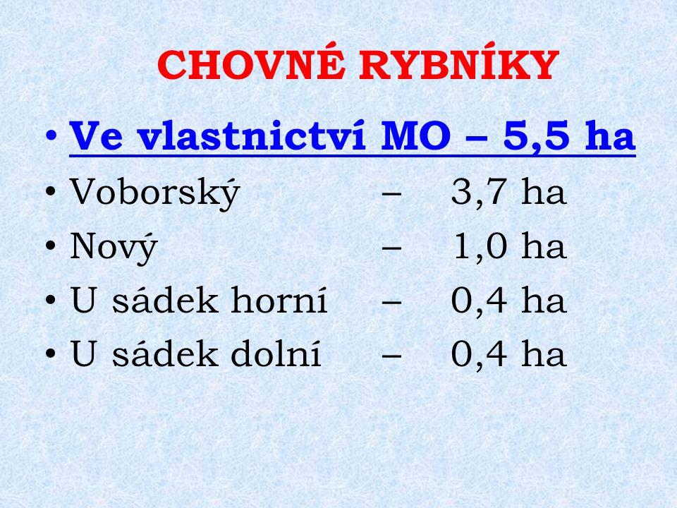 Ve vlastnictví MO – 5,5 ha Voborský –3,7 ha Nový –1,0 ha U sádek horní –0,4 ha U sádek dolní –0,4 ha